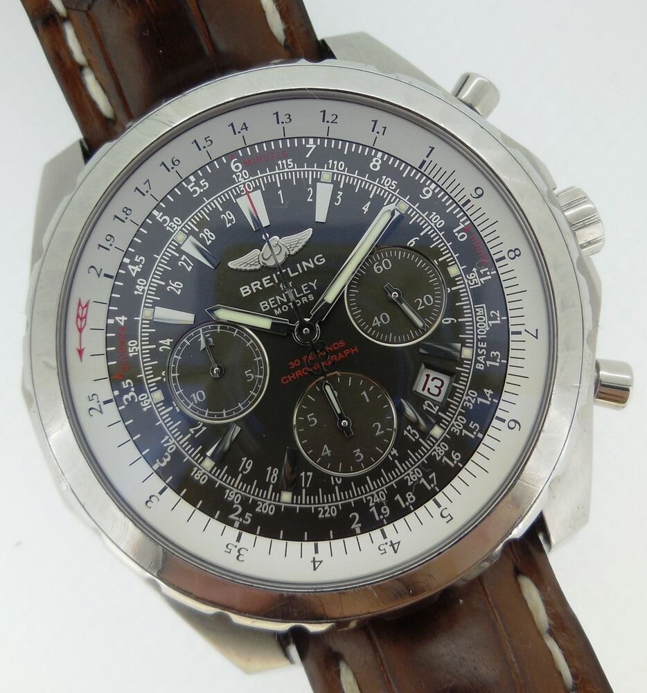 Breitling Stainless Steel Bentley Automatic Wristwatch Ref: Breitling Bentley Motors T Automatic Chronograph Gray Dial