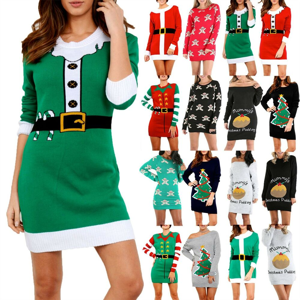 Womens Knitted Christmas Ladies Elf Costume Belted Xmas