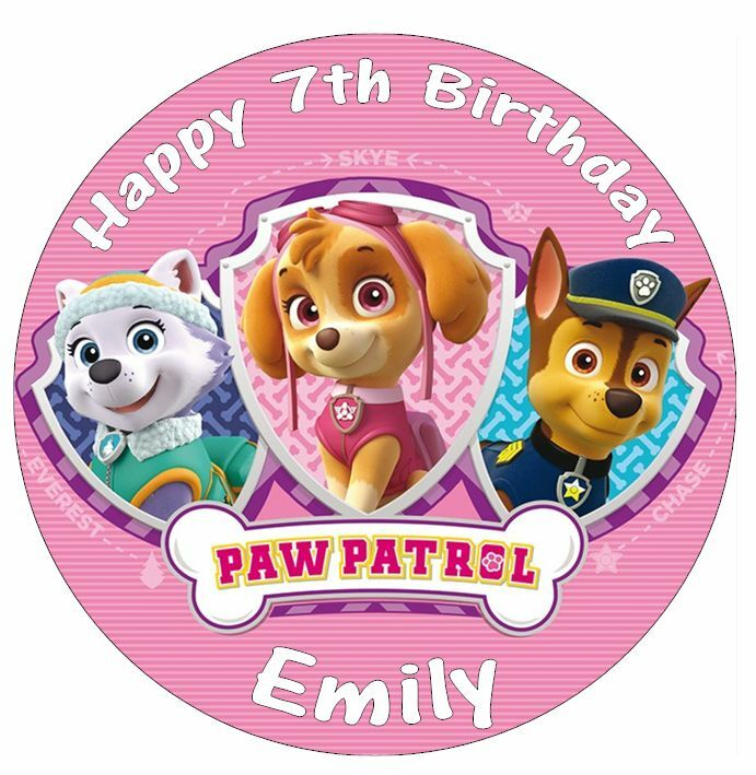 Paw Patrol Skye Everest Chase Personalised Cake Topper ...