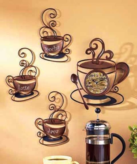 Decorative Metal Coffee Collection Metal Wall Art Kitchen Decor Clock 3 C