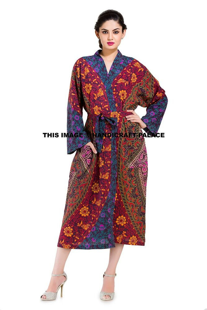 indian mandala womens 100 cotton bath robe dressing gown. Black Bedroom Furniture Sets. Home Design Ideas