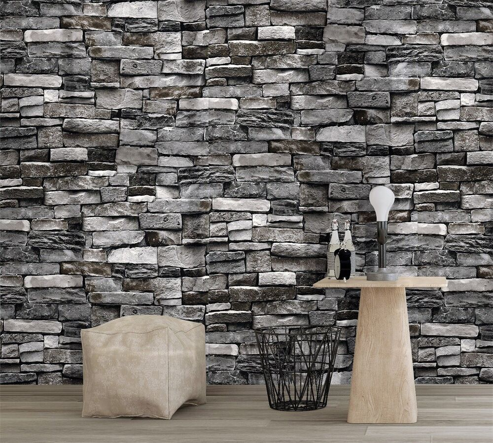 Vintatge stone brick wallpaper rolls wall mural dark grey for Brick mural wallpaper