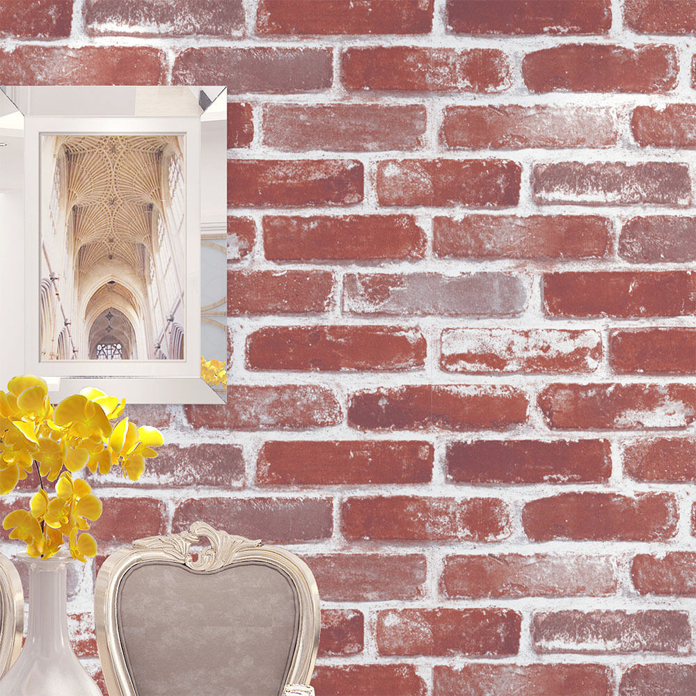 Vintatge brick stone wallpaper rolls wall mural red wheat for Wallpaper roll for walls