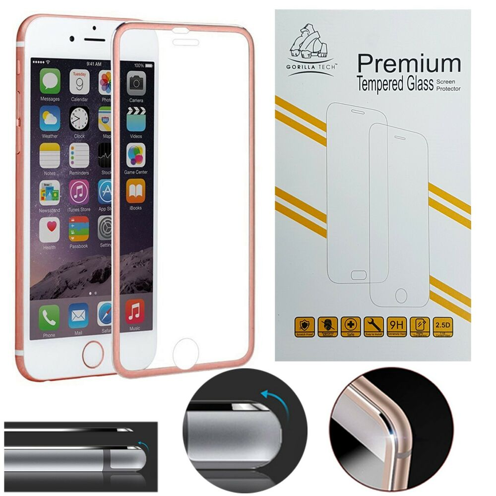differently 705eb 5b928 Metal Edge iPhone 6S 6 Rose Gold Screen Protector Tempered Glass Gorilla  Brand 5697602796322 | eBay