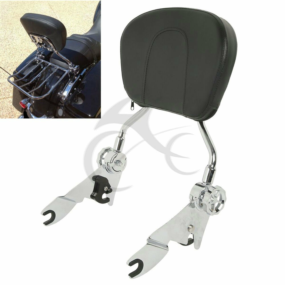 detachable backrest sissy bar pad for harley road king elelctra glide 2009 2017 ebay. Black Bedroom Furniture Sets. Home Design Ideas