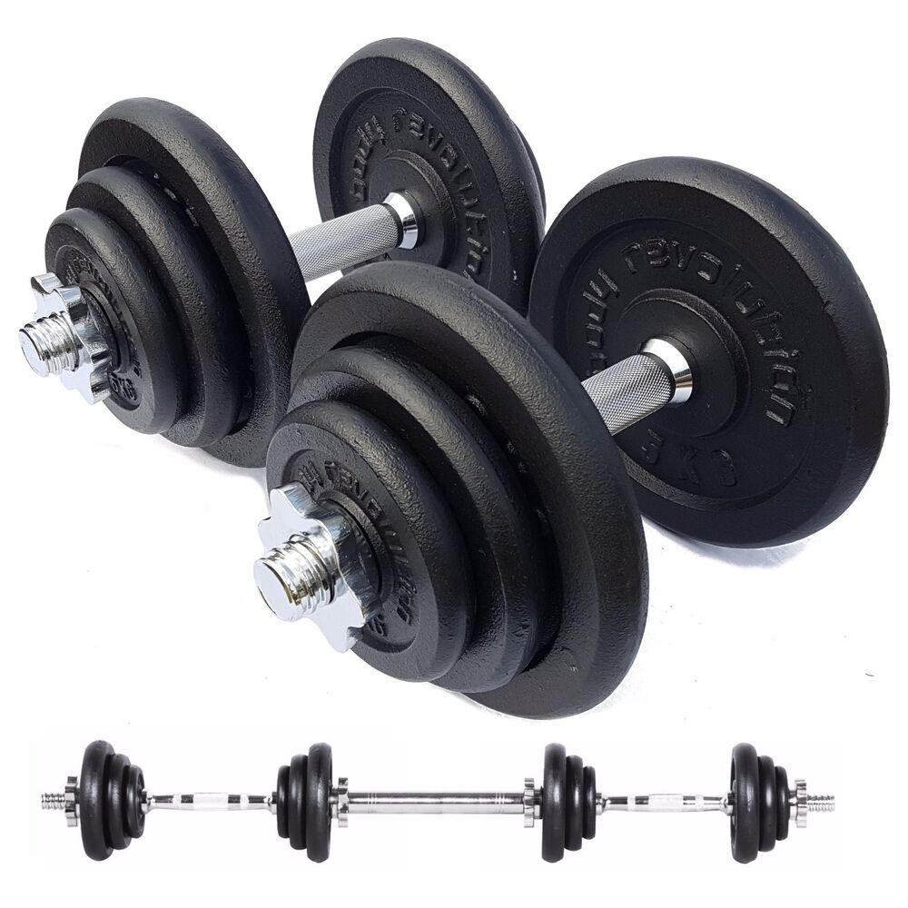 Kg cast iron dumbbell set free weights training home gym