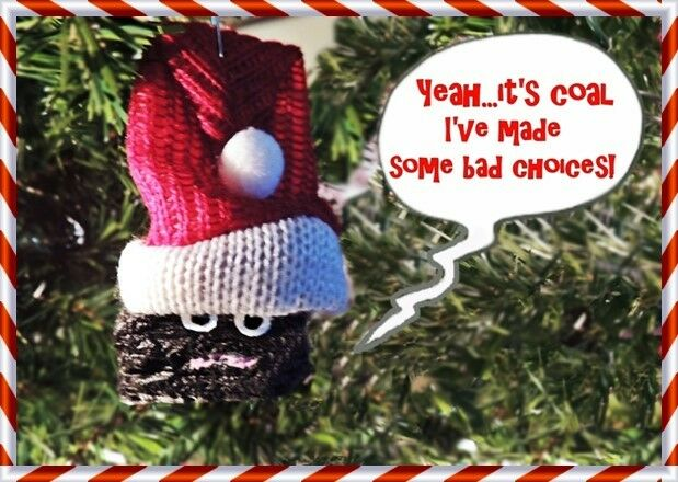 NAUGHTY COAL ORNAMENT W/ SANTA HAT For CHRISTMAS PARTY