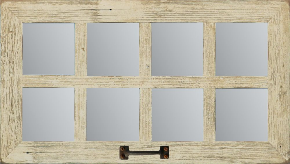 New rustic farmhouse reclaimed distressed barn wood window for Mirror window wall decor