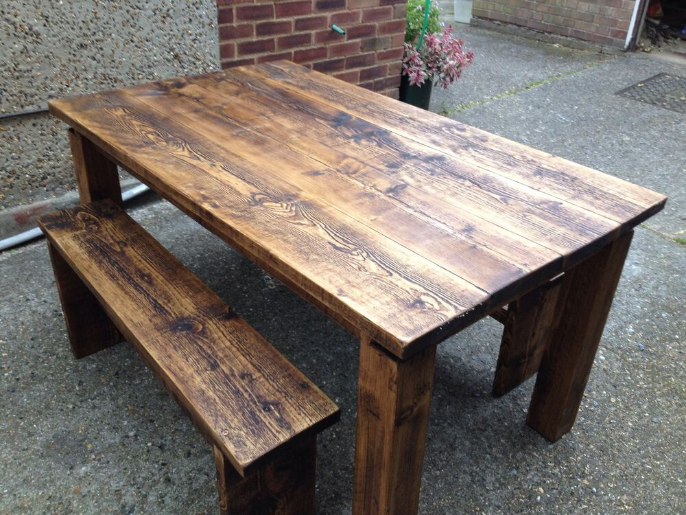 dining table kitchen table 150cm reclaimed pine wood timber with 2 bench seats ebay. Black Bedroom Furniture Sets. Home Design Ideas