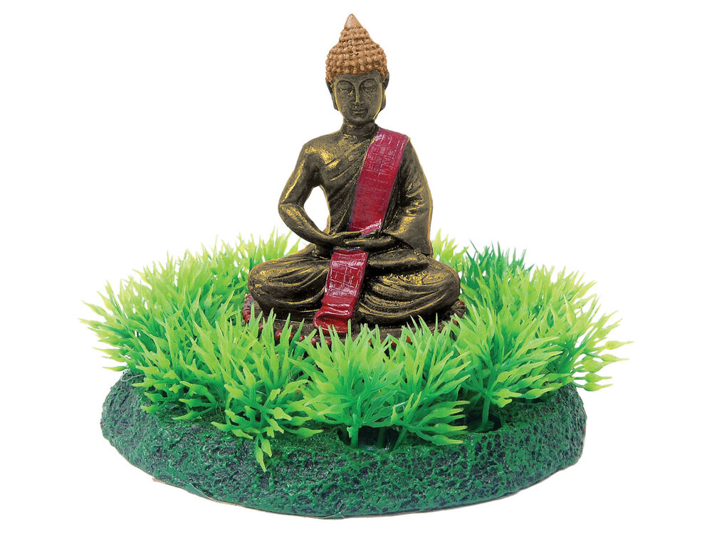 Buddha statue on grass aquarium ornament fish tank for Buddha decorations for the home uk