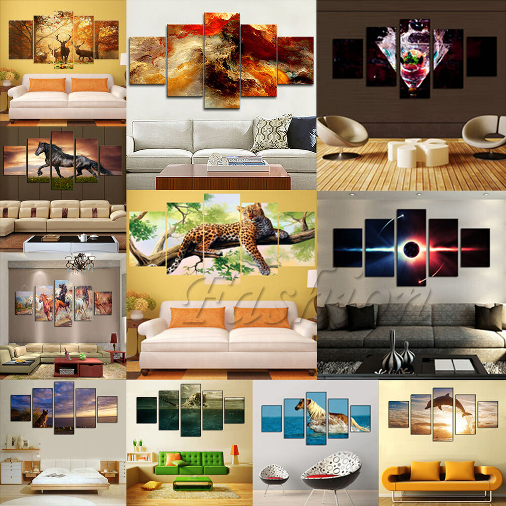 Large canvas huge modern home wall decor art oil painting for Modern home decor wall art