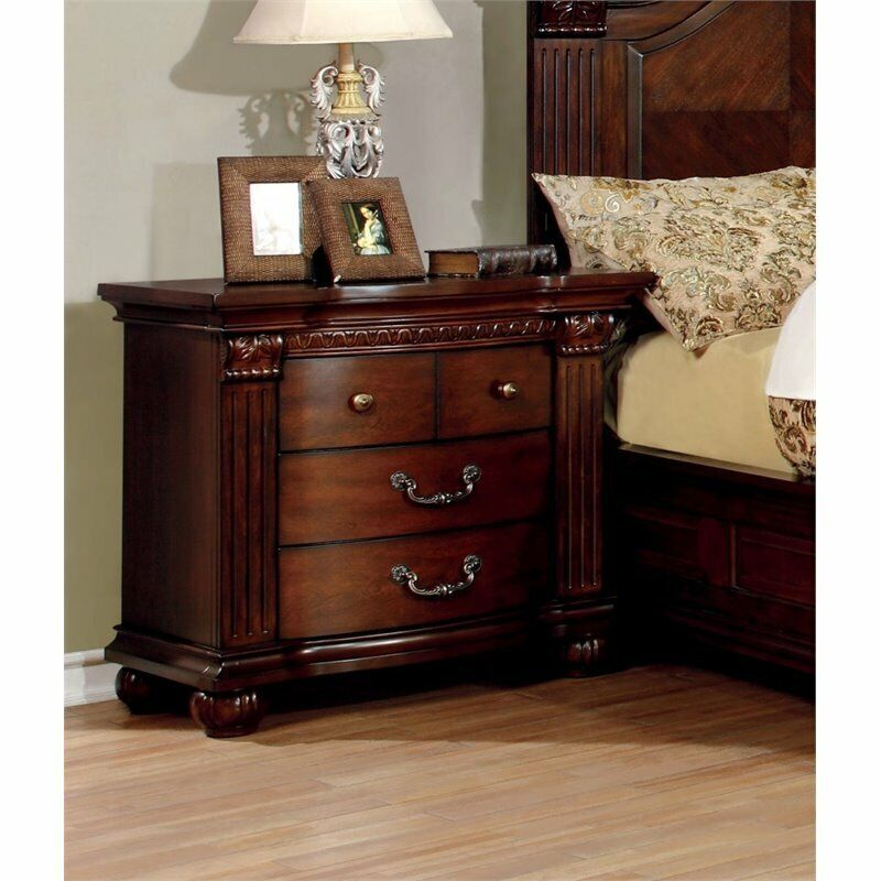 Furniture of america sorella 3 drawer nightstand in cherry for Furniture of america