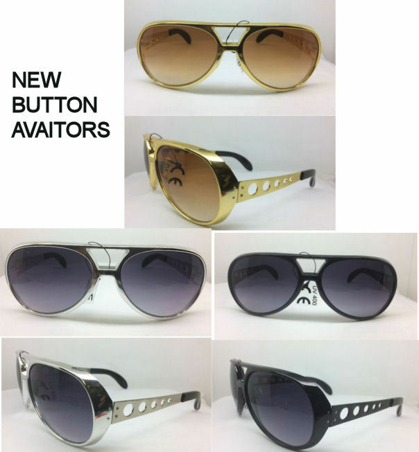 ELVIS BUTTON SUNGLASSES AVIATOR SILVER GOLD BLACK FRAMES ...