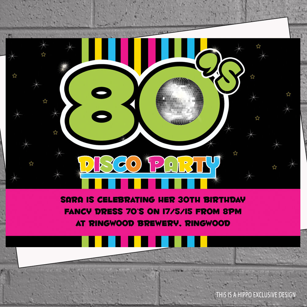 Details About 80s Party Invitations Fancy Dress Eighties Disco Birthday X 12 Env H1244