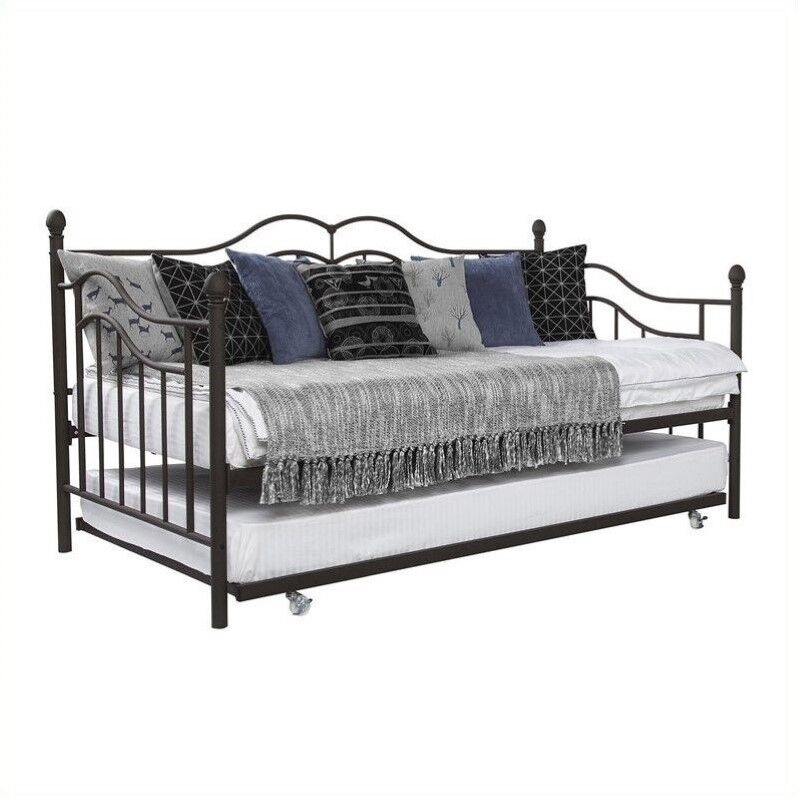 dhp the tokyo metal frame daybed and trundle in twin in brown ebay. Black Bedroom Furniture Sets. Home Design Ideas