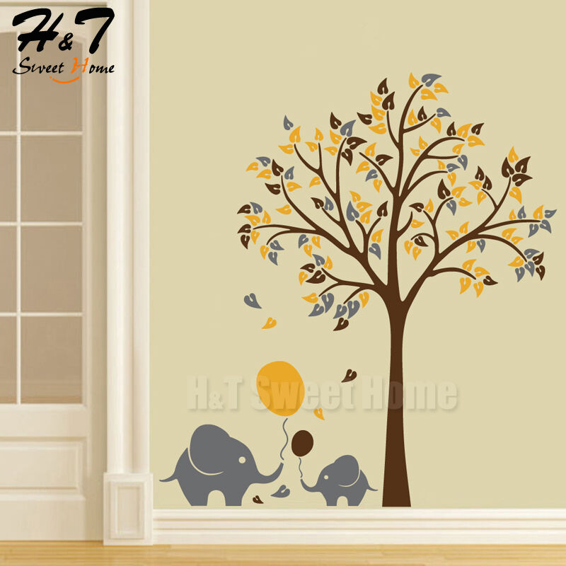 Large tree elephant balloon blossom vinyl wall sticker - Watch the elephant in the living room ...