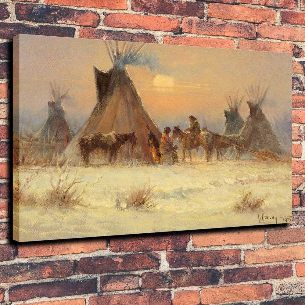 Art canvas print oil painting indian teepee family home decor a5900 18 x24 ebay Home decor paintings for sale india