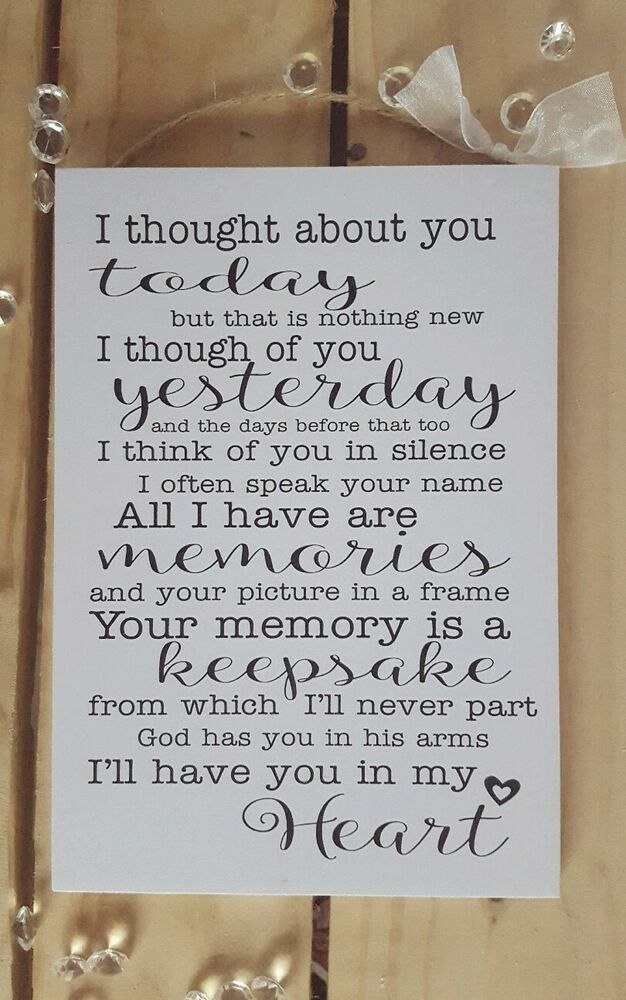 Handmade Plaque Sign Gift Present Loved One Memory Friend Quotes