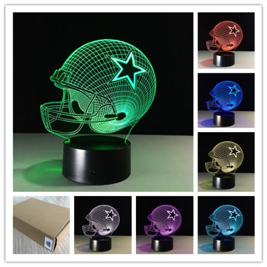 NFL Dallas Cowboys Helmet 3D Illusion Night Light 7 Color
