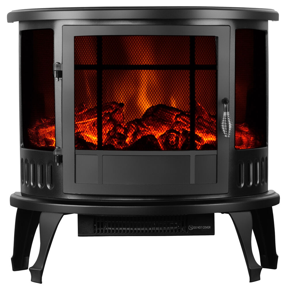 Adjustable 1500w Heater 23 Standing Electric Fireplace Stove Realistic Flame Ebay