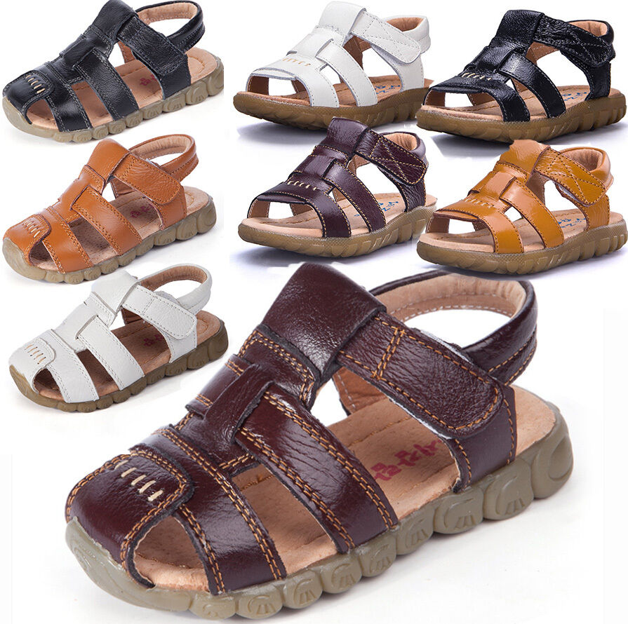 Hot Summer Leather Sandals Closed Toe Beach Sports Shoes ...