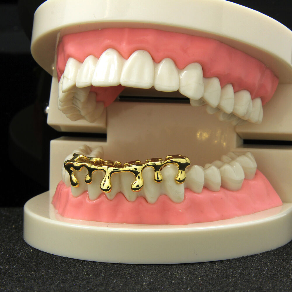 Custom fit k gold plated hip hop teeth drip grillz caps