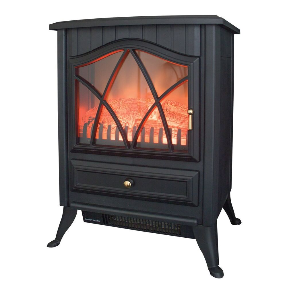 stove log burning cast iron effect electric fireplace. Black Bedroom Furniture Sets. Home Design Ideas