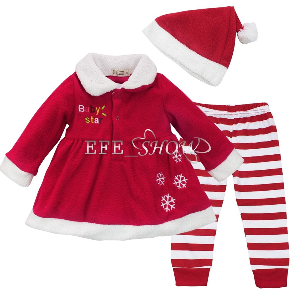 Christmas clothing for baby girl 12 18months 3pcs in set red santa