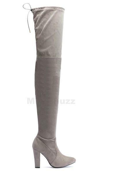 womens grey suede thigh high the knee