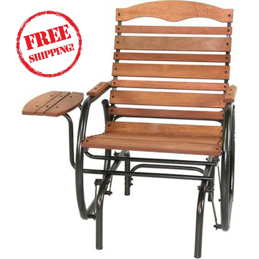 Wood glider chair with tray outdoor glide stool patio for Hardwood furniture