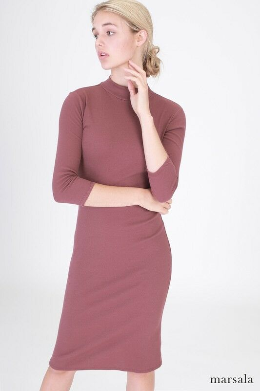 4c083882759 Details about Long sleeve ribbed mock neck midi dress Women Casual basic  tee shirt bodycon