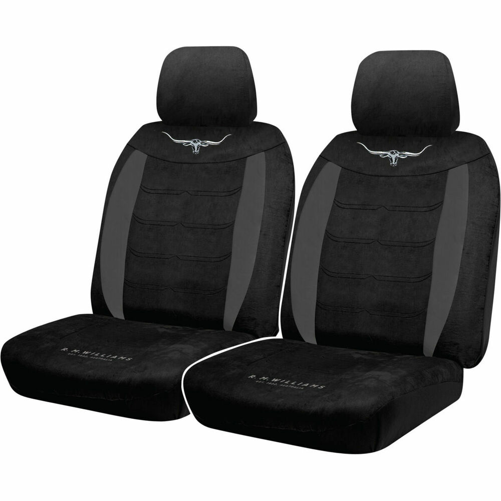 r m williams suede velour seat covers black adjustable headrests size 30 ebay. Black Bedroom Furniture Sets. Home Design Ideas