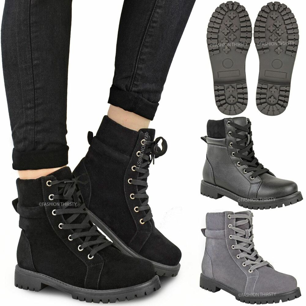Excellent WOMENS LADIES COMBAT ARMY MILITARY CHUNKY HIGH HEEL BIKER ANKLE LACE UP BOOTS SZ | EBay