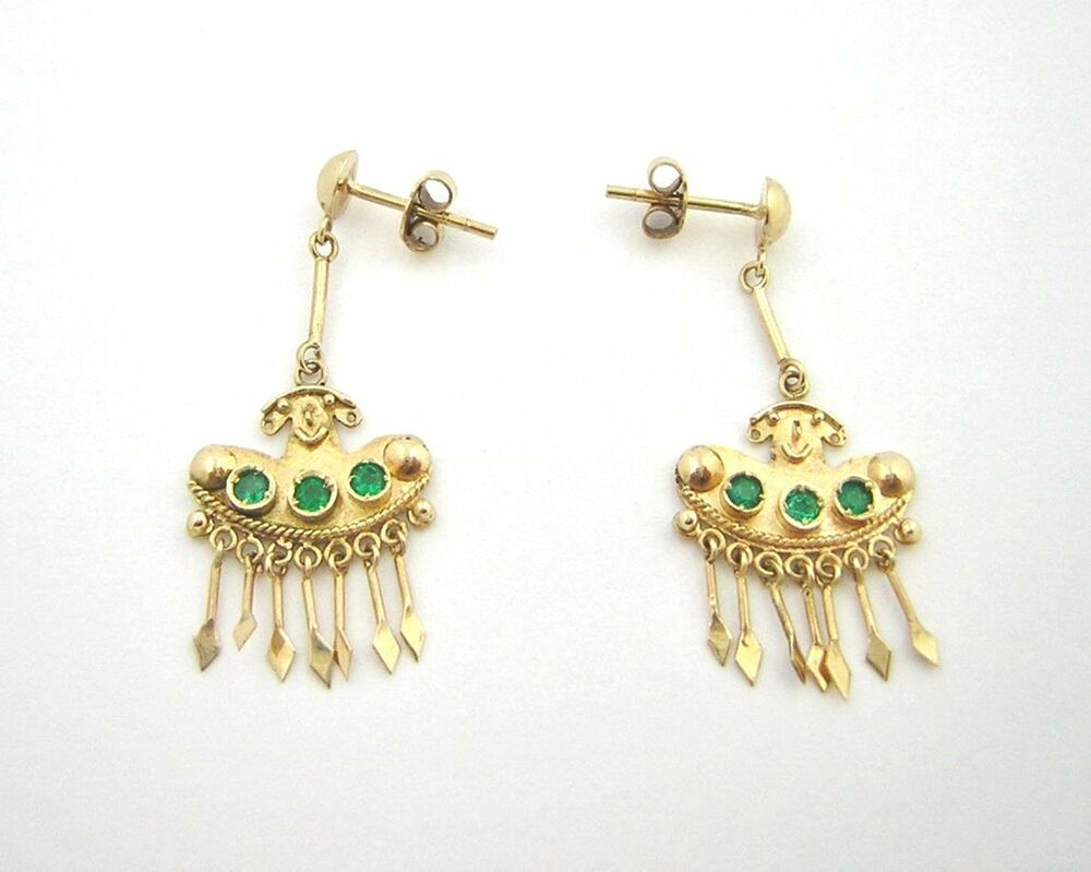 Colombian emerald earrings 28ct 18k yellow gold pre for What is fine jewelry