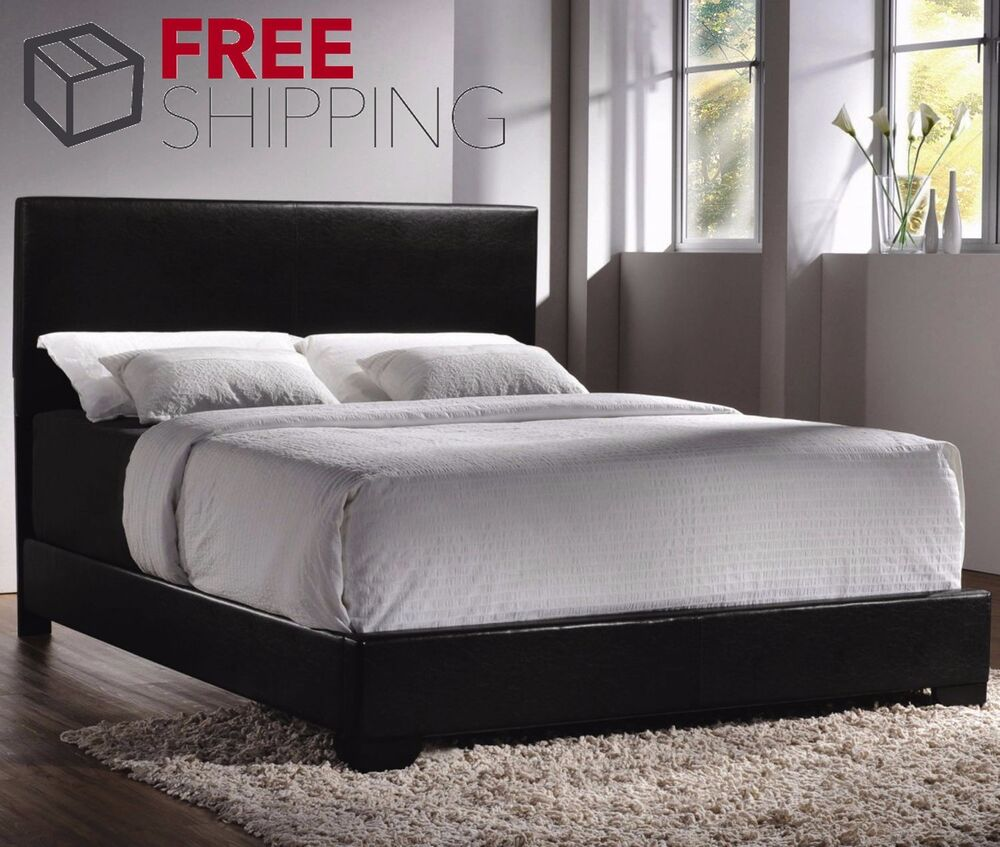 Bed Frame Queen Size Faux Leather Platform Headboard Black