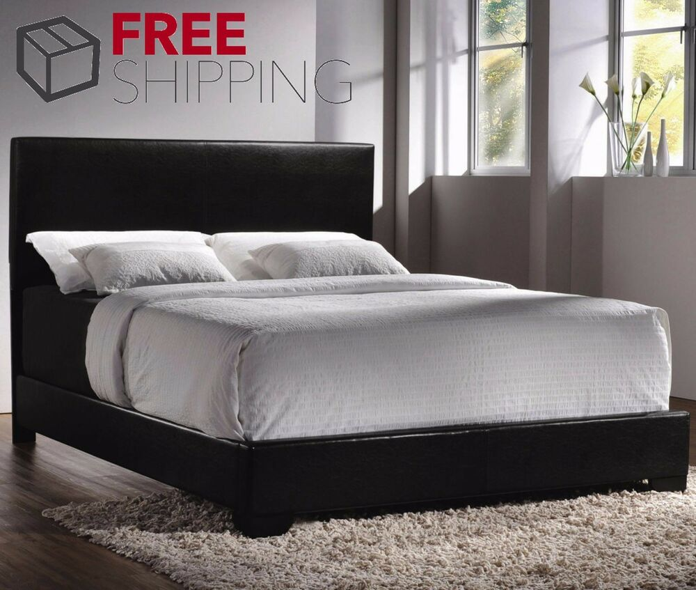 bed frame queen size faux leather platform headboard black bedroom furniture ebay. Black Bedroom Furniture Sets. Home Design Ideas