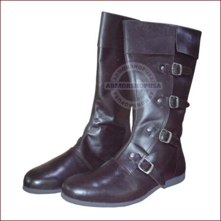 img-Medieval Leather Boots Brown Re-enactment Mens Shoe Larp Role Play Costume