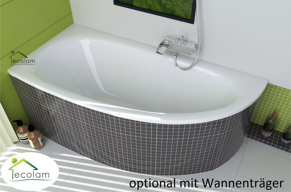 badewanne eckbadewanne acryl ablauf 150 x 70 cm ohne mit wannentr ger links m ebay. Black Bedroom Furniture Sets. Home Design Ideas