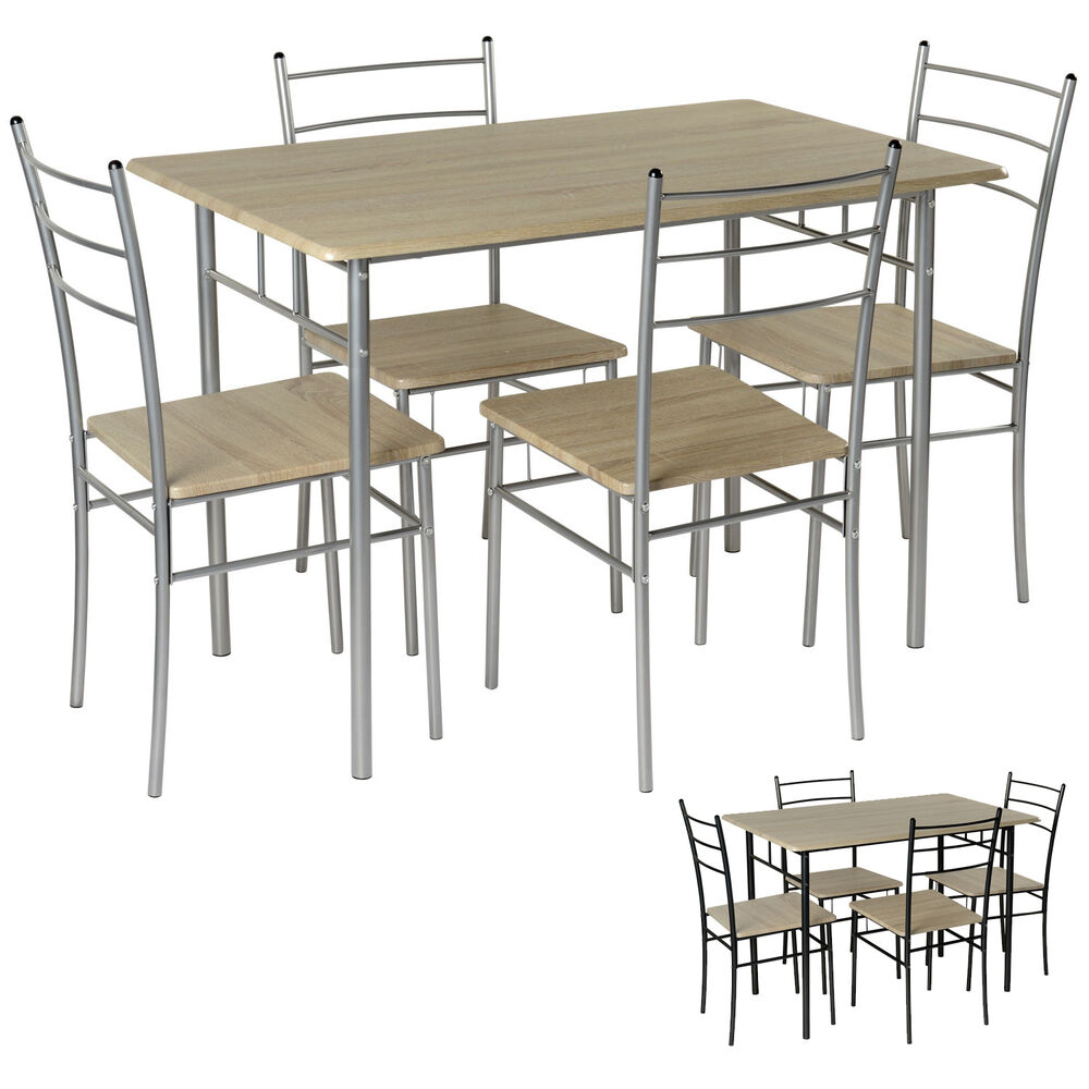Black silver 5pc dining set rectangular table 4 chairs for Black dining table set