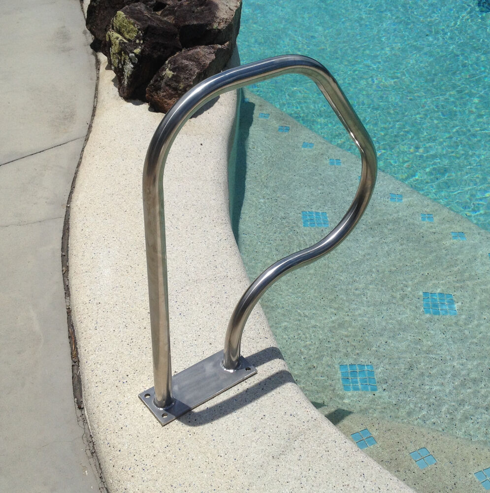 Swimming Pool Hand Rail Step Grab Rail Bolt Down Stainless Steel Ebay