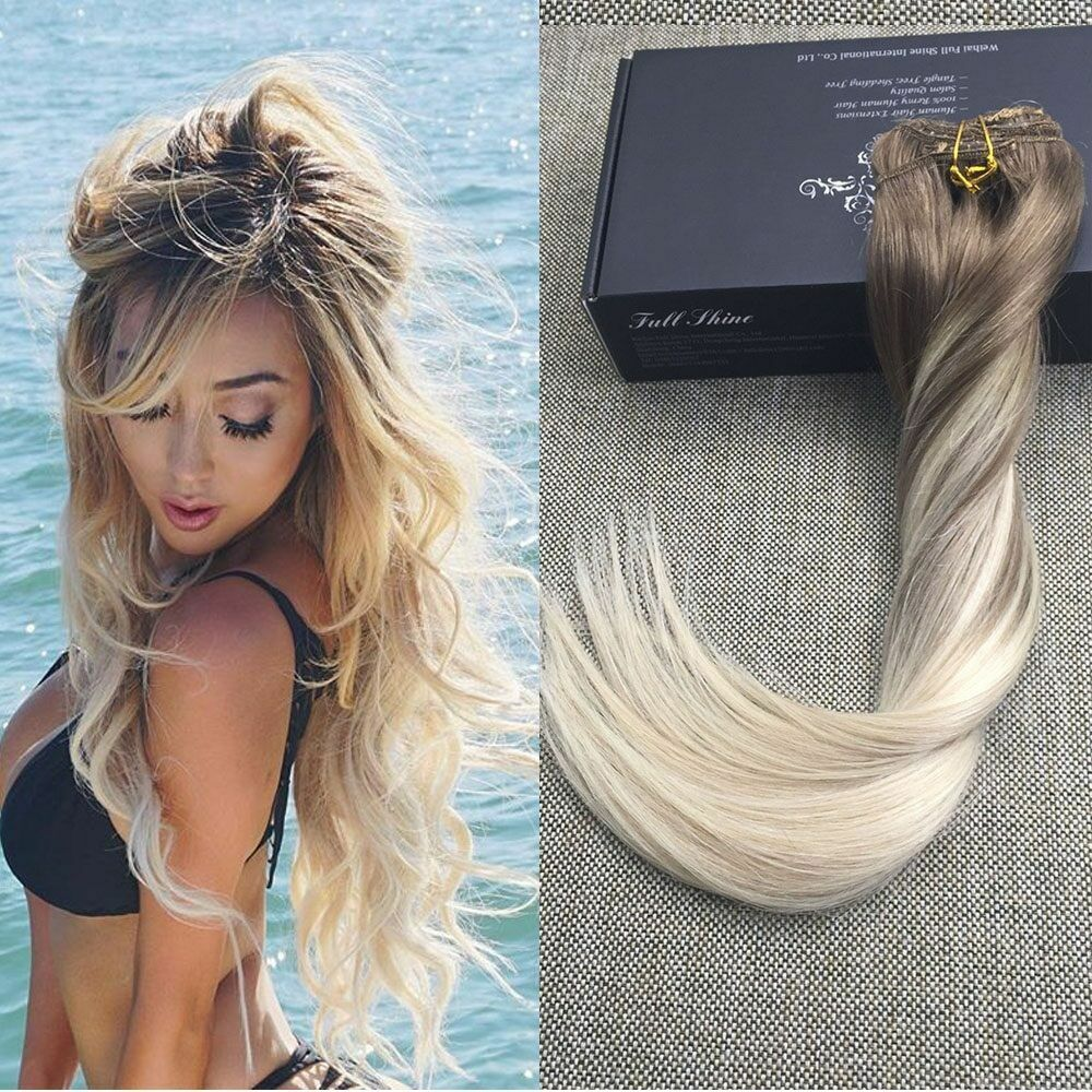 European Ombre Clip In Remy Human Hair Extensions Ash