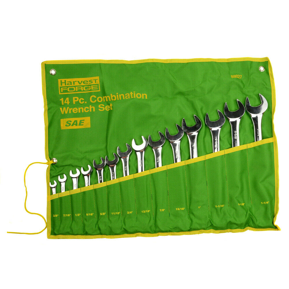 14pc piece sae standard combination wrench set w roll up pouch 3 8 to 1 1 4 ebay. Black Bedroom Furniture Sets. Home Design Ideas