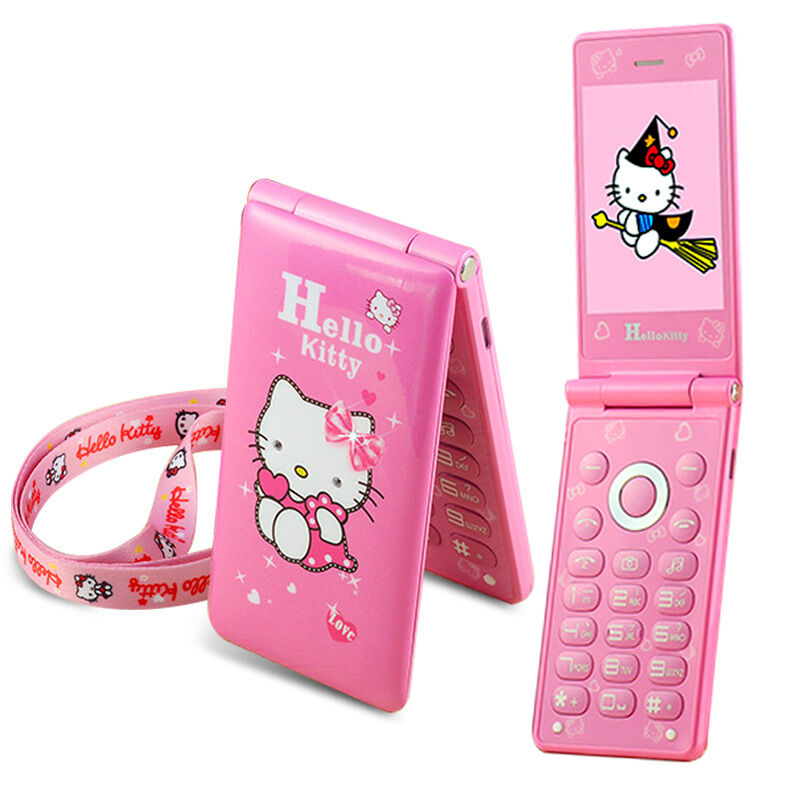2017 Flip Cute Hello Kitty Student Child Girls Dual SIM