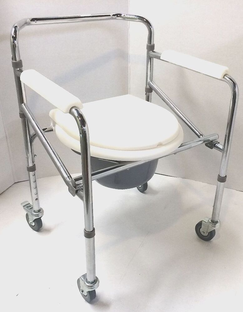 Convenient Commode Wheelchair Over Toilet Shower 3 In 1 Compact Folding Desig