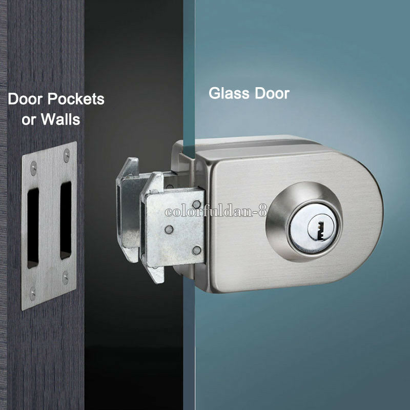 1pcs Glass Door Lock Single Door Double Unlock Stainless