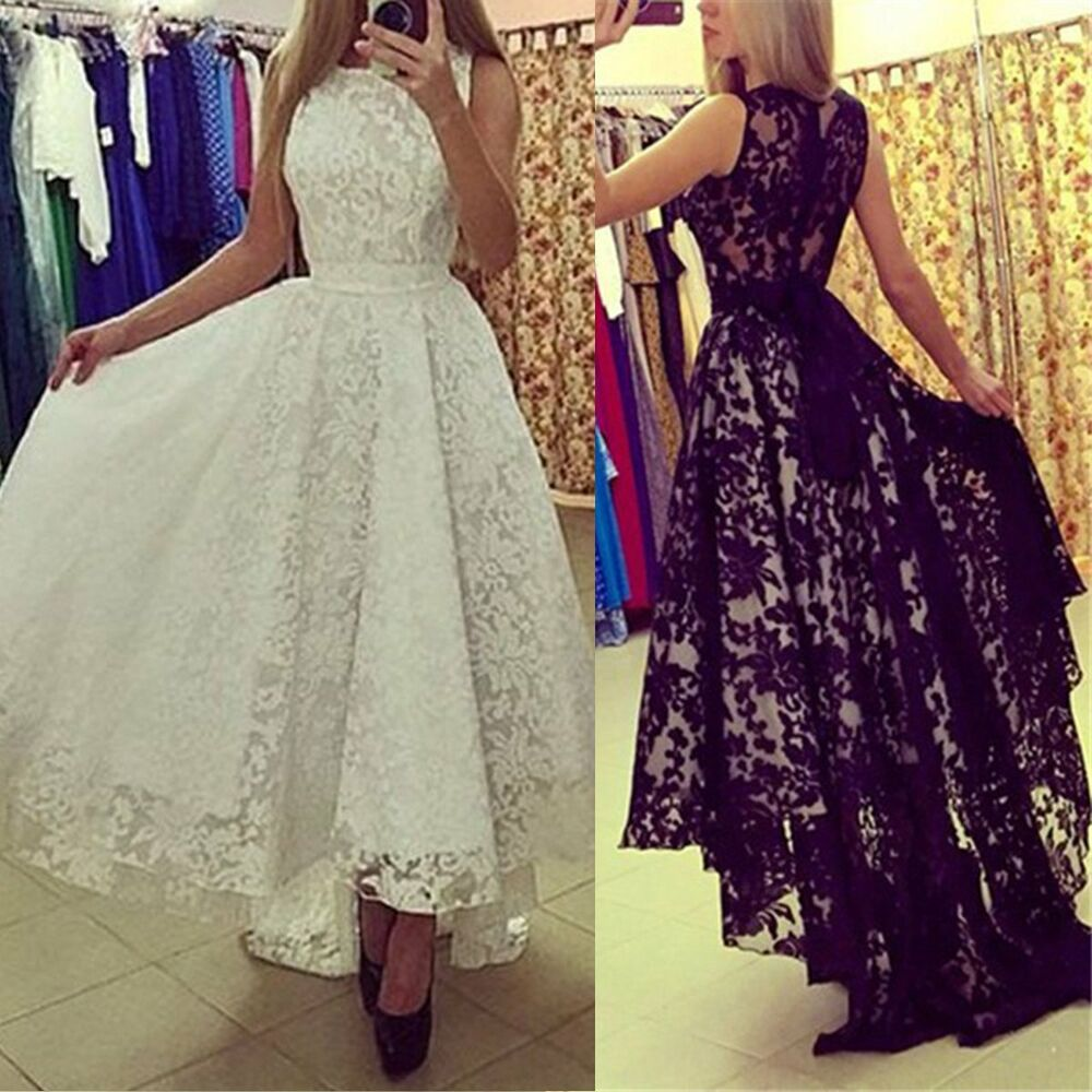 Women formal long lace dress prom evening party cocktail for Formal dress for women wedding