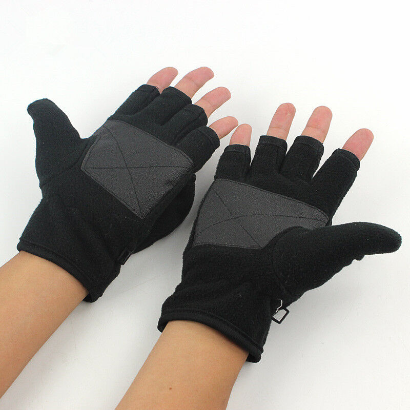 Winter fingerless gloves convertible to flip top cycling for Fingerless fishing gloves