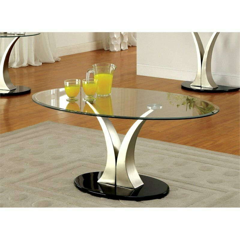 Furniture Of America Mansa Oval Glass Top Coffee Table In