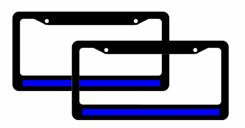 Aluminum License Plate Frame >> (2) Thin Blue Line License Plate Frames Reflective Support Police Officers #6679 | eBay