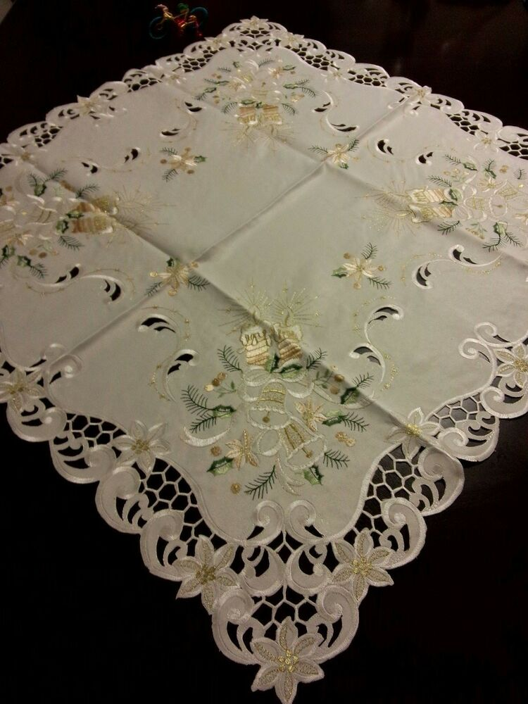 33 Quot Square Embroidered Tablecloth Christmas Bells Table